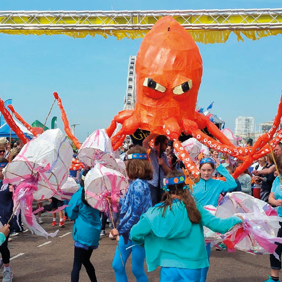 Octopus puppet crossing the finishline